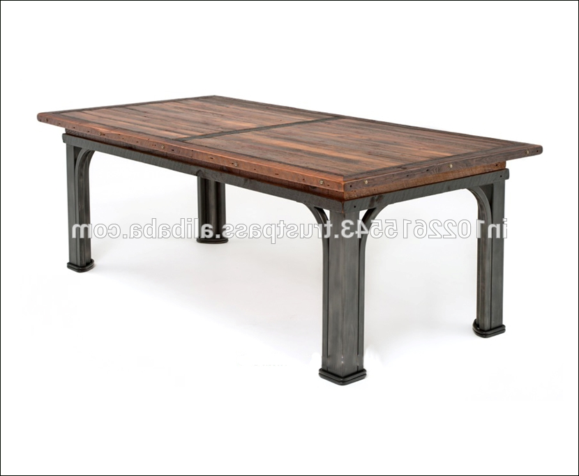 Newest Iron And Wood Dining Tables Within Industrial Reclaimed Wood Dining Table With Metal Legs, View Wood (Gallery 19 of 20)