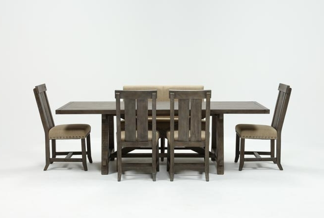 Newest Jaxon Grey 6 Piece Rectangle Extension Dining Set W/bench & Wood In Jaxon Grey Rectangle Extension Dining Tables (View 14 of 20)