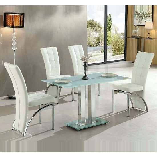 Newest Jet Small White Glass Dining Table With 4 Ravenna White With Smoked Glass Dining Tables And Chairs (View 11 of 20)