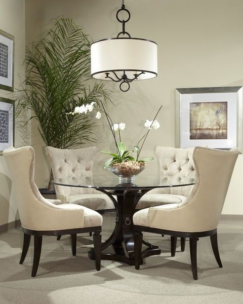 Newest Lassen 5 Piece Round Dining Sets Inside Reeeeeally Wanting The Oh So Elegant Round Glass Dining Room Table (View 10 of 20)