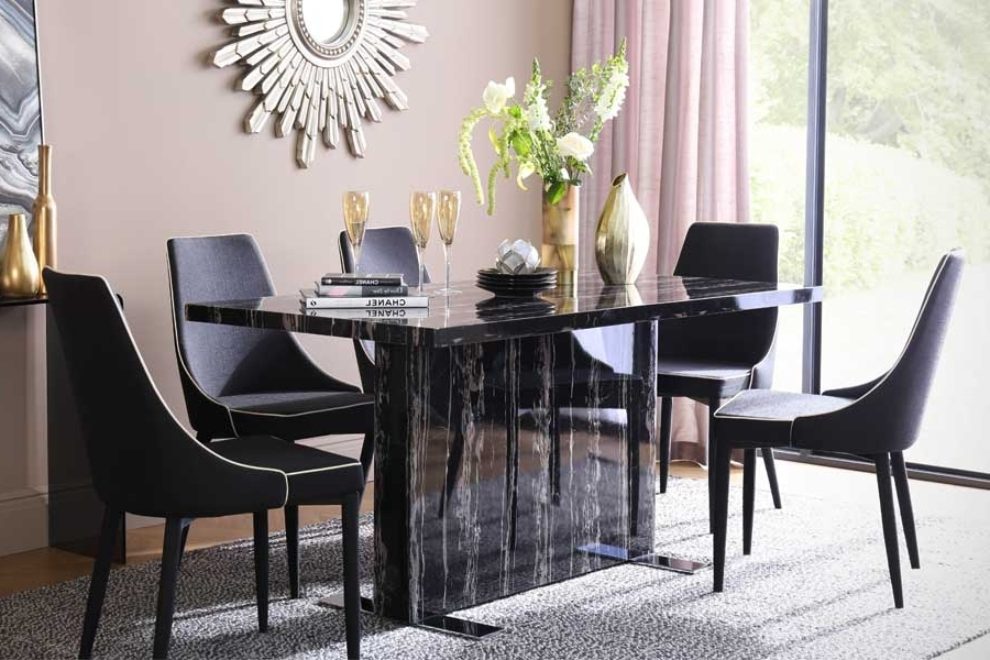 Newest Marble Effect Dining Tables And Chairs With Marble Dining Sets (Gallery 8 of 20)