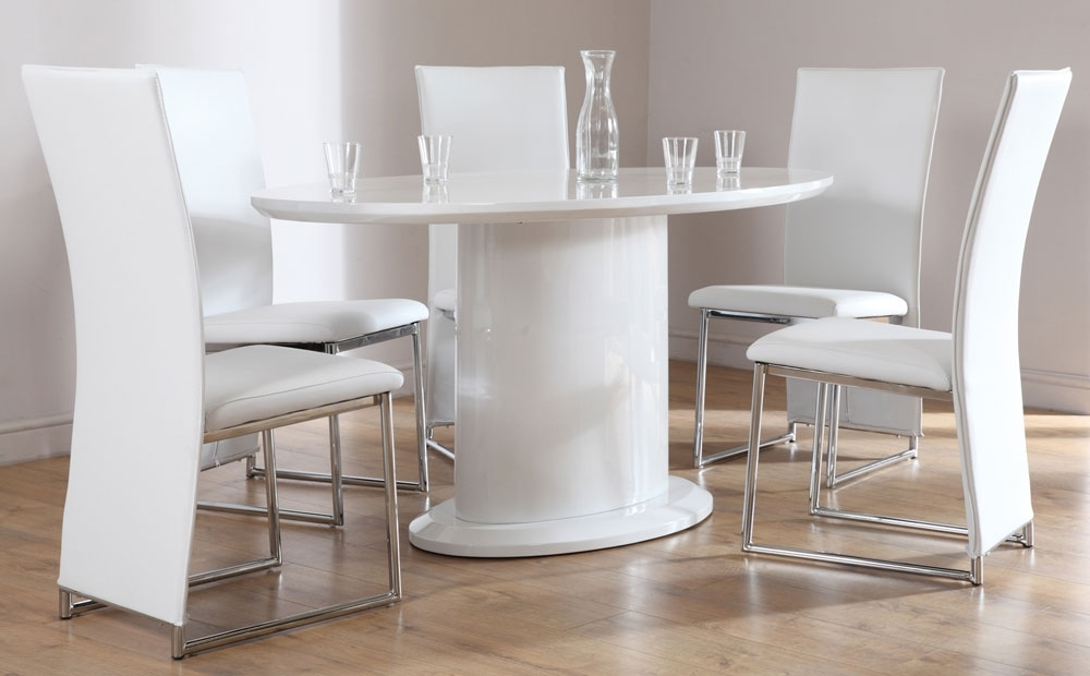 Newest Monaco White High Gloss Oval Dining Table And 4 Chairs Set, White Within Oval White High Gloss Dining Tables (Gallery 20 of 20)
