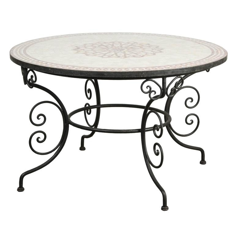 Newest Moroccan Outdoor Round Mosaic Tile Dining Table On Iron Base 47 In Pertaining To Mosaic Dining Tables For Sale (Gallery 14 of 20)