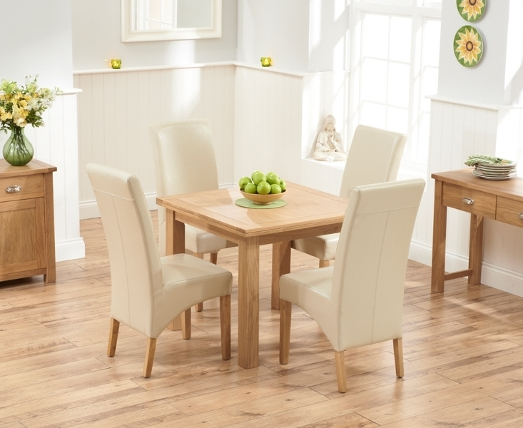 Newest Oak Dining Tables And Leather Chairs Throughout Udine Solid Oak 90Cm Flip Top Extending Dining Set With 4 Tivoli (View 18 of 20)