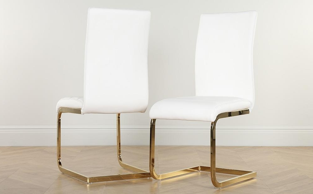 Newest Perth White Dining Chairs In Paris Round White High Gloss Dining Table With 4 Perth White Chairs (Gallery 6 of 20)