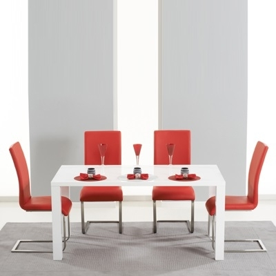 Newest Red Gloss Dining Tables Regarding Harvey 160cm High Gloss White Dining Table With 4 Milan Red Chairs (View 2 of 20)