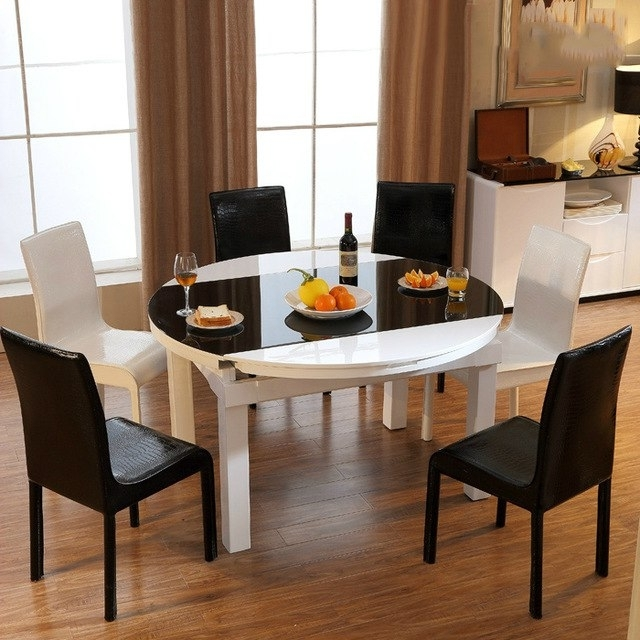 Newest Round Glass And Oak Dining Tables With Scalable Round Glass Dining Table Minimalist Modern Fashion Piano (Gallery 20 of 20)