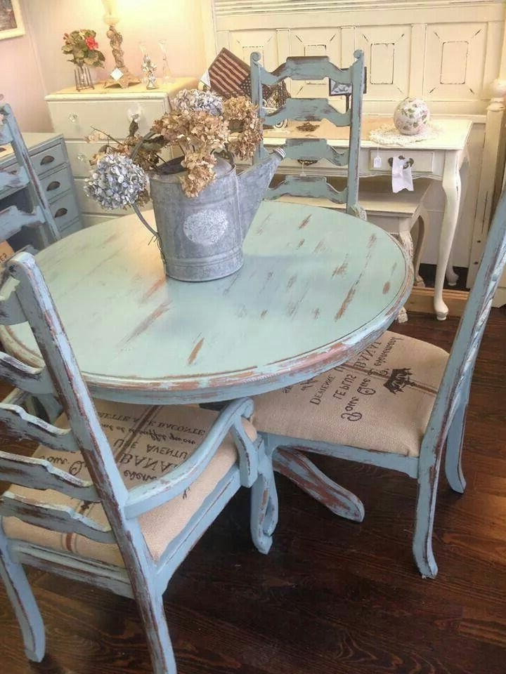 Newest Shabby Chic Dining Sets Pertaining To Distressed Pale Blue Shabby Table And Chairs (Gallery 11 of 20)