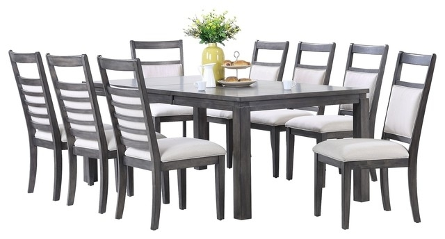 Newest Shades Of Gray 9 Piece Dining Set – Transitional – Dining Sets – Pertaining To Walden 9 Piece Extension Dining Sets (Gallery 14 of 20)