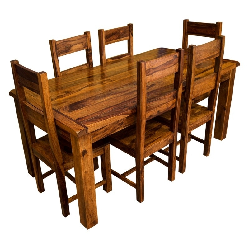 Newest Sheesham Dining Tables For Samri Sheesham Dining Table & Six Chairs – Solid Sheesham Wood (View 8 of 20)