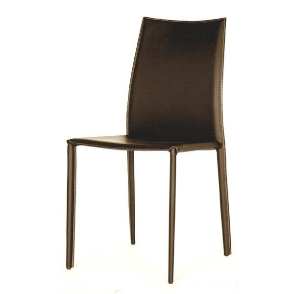 Newest Shop Modern Brown Faux Leather Dining Chair 2 Piece Setbaxton With Regard To Brown Leather Dining Chairs (View 15 of 20)