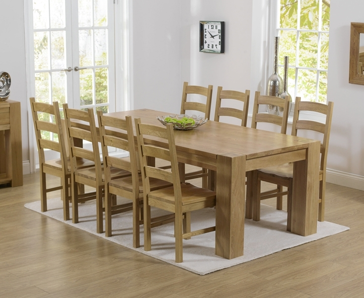 Newest Solid Oak Dining Tables And 6 Chairs Inside Thames 220Cm Oak Dining Table With Vermont Chairs (View 8 of 20)