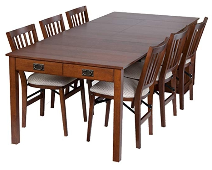 Newest Weaver Dark 7 Piece Dining Sets With Alexa White Side Chairs With Regard To Amazon – Stakmore Traditional Expanding Table Finish, Fruitwood (View 12 of 20)