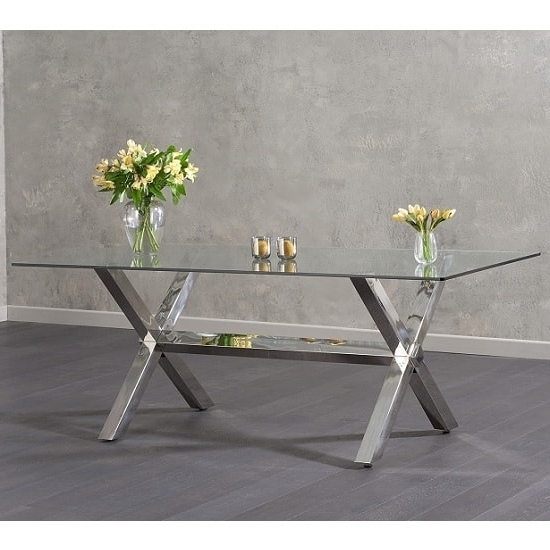Newest Weaver Glass Dining Table In Clear With Stainless Steel Intended For Weaver Ii Dining Tables (Gallery 15 of 20)