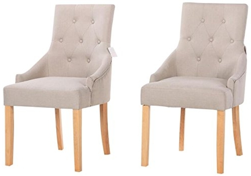 Newest Yakoe Set Of 2 New Linen Fabric Dining Chairs Scoop Button Back With Inside Button Back Dining Chairs (Gallery 10 of 20)
