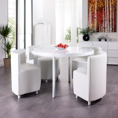 Next White Dining Tables Within 2018 Rotunda 4 Seater Dining Table Set White – Dwell (Gallery 10 of 20)