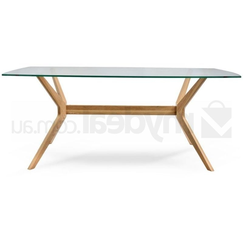 Nora Retro Oak Dining Table With Glass Top Natural (Gallery 3 of 20)
