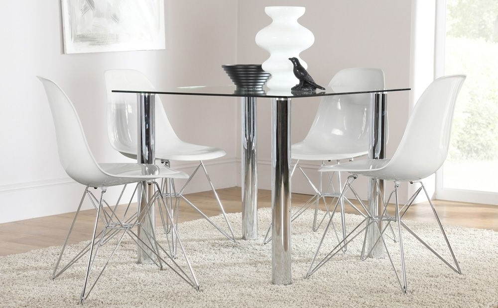 Nova Square Glass & Chrome Dining Table And 4 Dsr Chairs Set (Helix Intended For Fashionable Chrome Dining Sets (View 6 of 20)