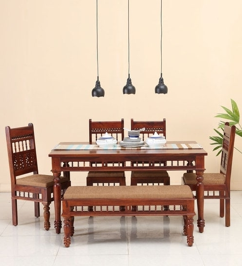Oak 6 Seater Dining Tables With Recent Buy Aramika Six Seater Dining Set With Bench In Honey Oak Finish (View 15 of 20)