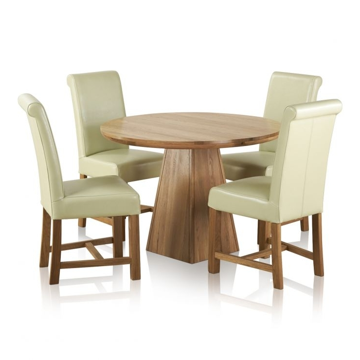 Oak Dining Sets With Regard To Current Provence Dining Set In Real Oak: Table + 4 Leather Cream Chairs (Gallery 20 of 20)