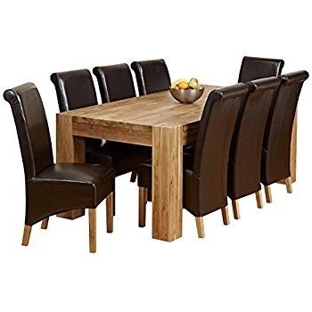 Oak Dining Tables And 8 Chairs Throughout Best And Newest 1Home Full Solid Oak Dining Table Set Chunky Legs Room Furniture (Gallery 3 of 20)