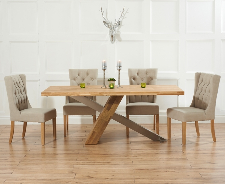 Oak Dining Tables And Fabric Chairs With Famous Chateau 180Cm Solid Oak And Metal Dining Table With Safia Fabric Chairs (Gallery 4 of 20)