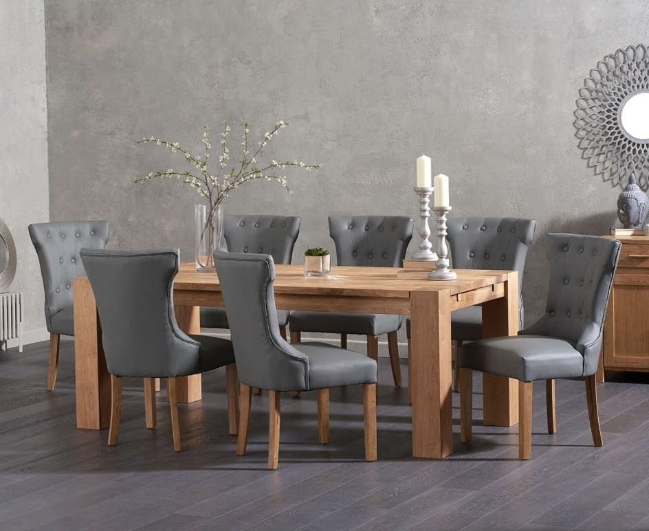 Oak Dining Tables And Leather Chairs With Regard To Most Recent Madrid 200Cm Solid Oak Dining Table With Cora Grey Faux Leather (Gallery 16 of 20)
