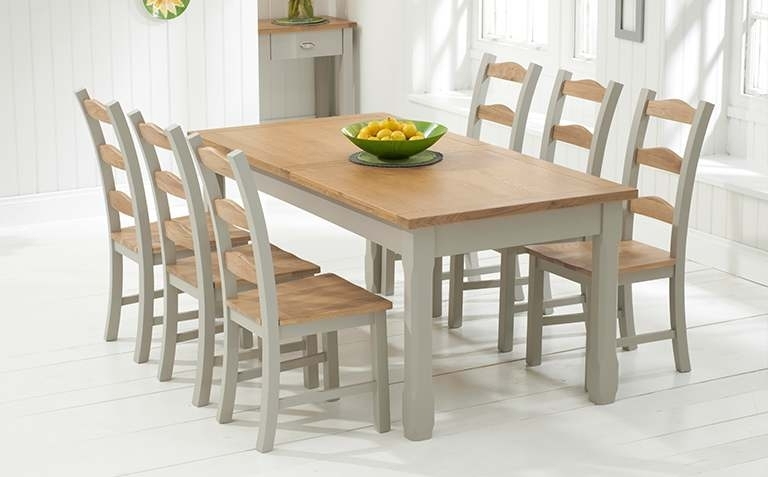 Oak Dining Tables Sets Throughout Trendy Painted Dining Table Sets (Gallery 5 of 20)