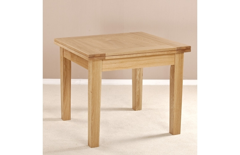 Oak Extending Dining Sets Intended For Trendy Milano Solid Oak Square Flip Top Extending Dining Table (View 4 of 20)