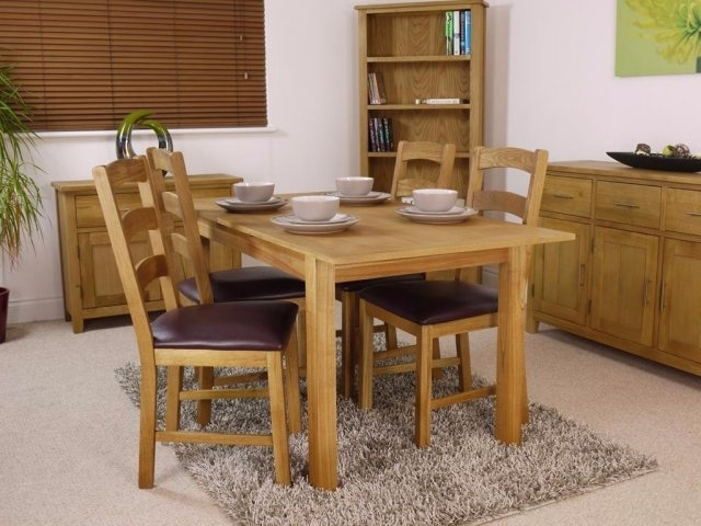 Oak Extending Dining Sets Regarding Fashionable Canada Oak Extending Dining Table Set – Table And 4 Chairs (View 14 of 20)