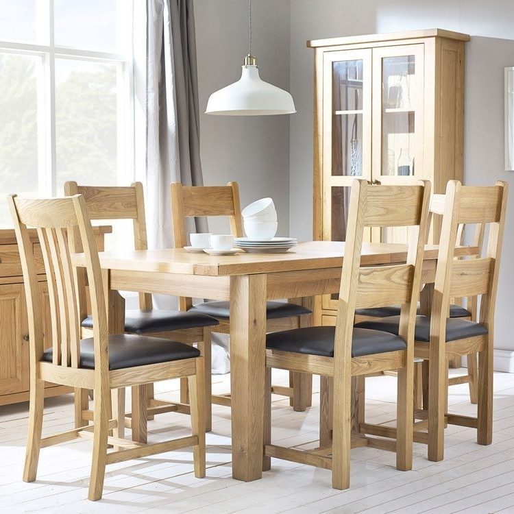 Oak Extending Dining Tables And 4 Chairs Throughout Fashionable Denver Oak Extending Dining Table & 4 Chairs (View 15 of 20)