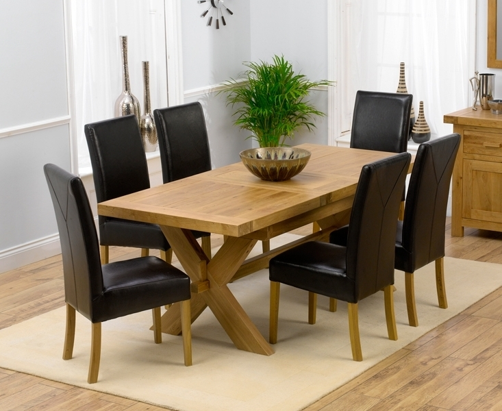 Oak Extending Dining Tables And 6 Chairs Pertaining To 2017 Bellano Solid Oak Extending Dining Table Size 160 Blue Fabric Dining (Gallery 4 of 20)