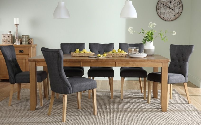 Oak Extending Dining Tables And 8 Chairs In Current Highbury Oak Extending Dining Table – With 8 Bewley Slate Chairs (Gallery 13 of 20)