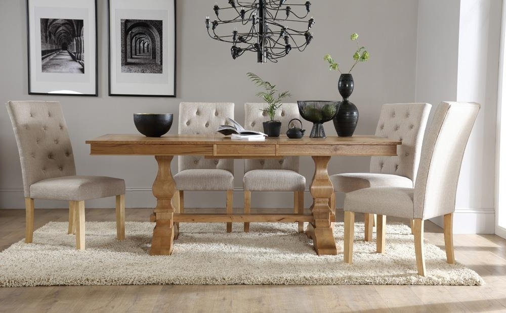 Oak Extending Dining Tables And 8 Chairs In Most Recent Cavendish Oak Extending Dining Table With 8 Hatfield Oatmeal Chairs (Gallery 18 of 20)
