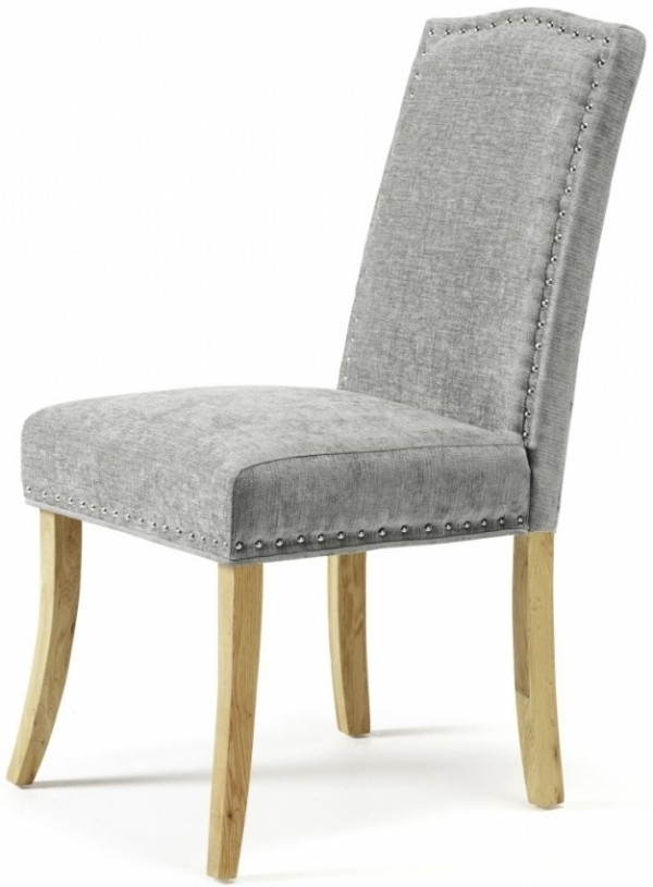 Oak Fabric Dining Chairs Regarding 2018 Serene Knightsbridge Dining Chairs In Steel Fabric With Oak Legs (Pair) (View 10 of 20)