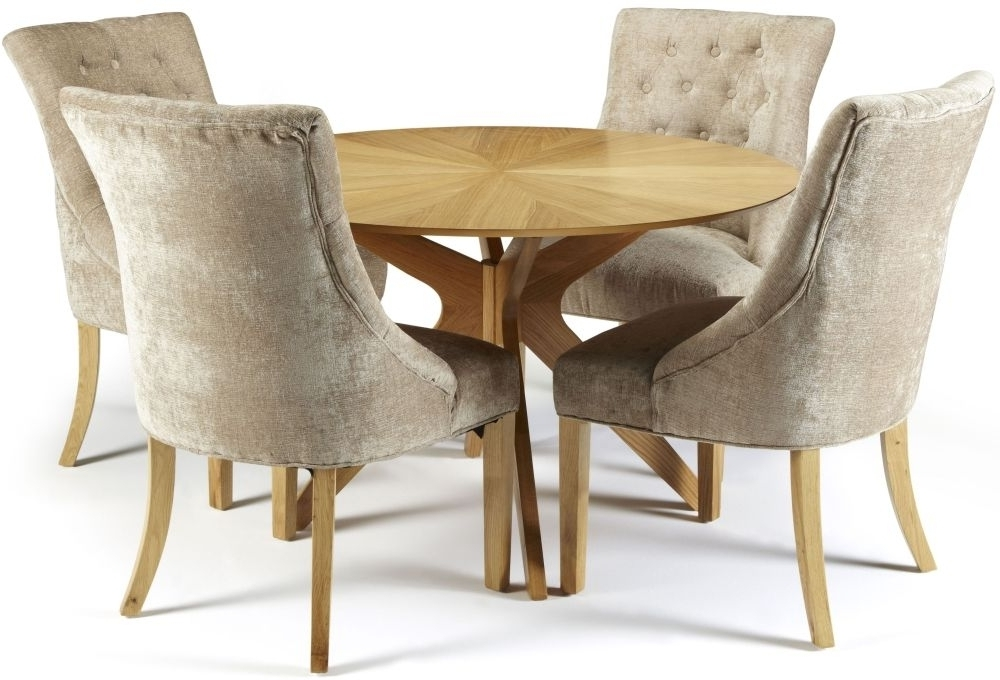 Oak Fabric Dining Chairs Throughout Newest Douglas Oak Round Dining Set With 4 Hampton Mink Fabric Chairs (Gallery 6 of 20)