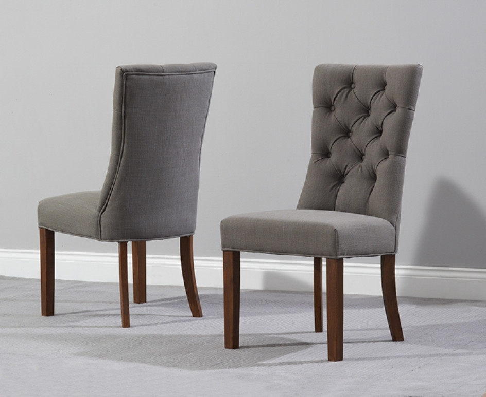 Oak Fabric Dining Chairs Within Fashionable Anais Grey Fabric Dark Oak Leg Dining Chairs (View 12 of 20)