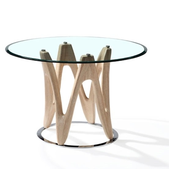 Oak Glass Dining Tables Regarding Fashionable Dunic Glass Dining Table Round In Sonoma Oak And Chrome (Gallery 8 of 20)