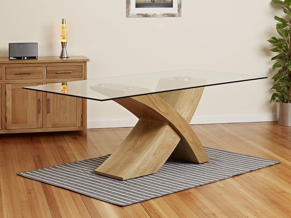 Oak Glass Top Dining Tables For Favorite Milano X Wood Veneer Oak Glass Dining Table Set 6 Chairs Seater In (View 9 of 20)