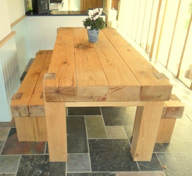 Oak Railway Full Sleeper Dining Table For Sale (Gallery 4 of 20)