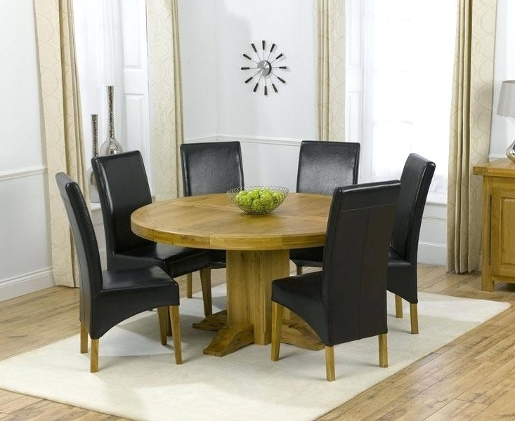 Oak Round Dining Table 6 Leather Chairs Ghost For Round Dining Table With Regard To Most Up To Date 6 Person Round Dining Tables (Gallery 4 of 20)