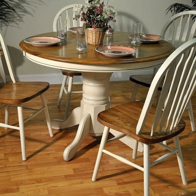 Oak Round Dining Tables And Chairs Intended For Well Liked Antique White And Oak Round Dining Table – Dining Room And Kitchen (View 14 of 20)