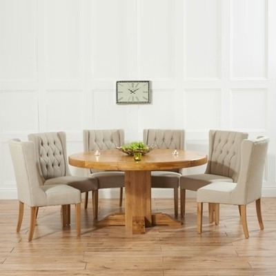 Oak Round Dining Tables And Chairs Regarding Most Up To Date Trina Solid Oak Round Dining Table With 6 Sophia Beige Chairs (Gallery 8 of 20)