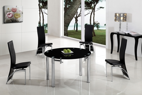 Oasis Extending Dining Table In Black Glass With Chrome For Recent Glass Round Extending Dining Tables (View 16 of 20)