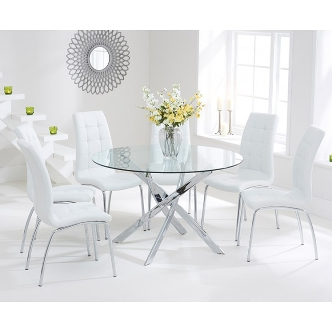 Oddess White Dining Set Circular Glass Dining Table And 4 Chairs For Well Known Cheap Glass Dining Tables And 4 Chairs (Gallery 19 of 20)