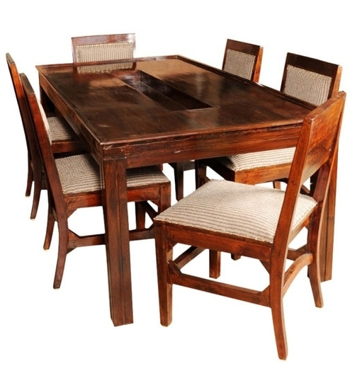 Olida Sheesham Wood Dining Table With Six Upholstered Chairs Regarding Current Sheesham Wood Dining Chairs (Gallery 13 of 20)