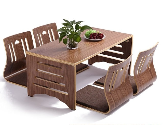 Online Shop 5Pcs/set Modern Japanese Style Dining Table And Chair Pertaining To Fashionable Asian Dining Tables (View 14 of 20)