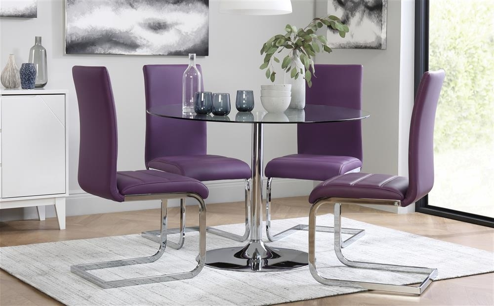 Orbit Round Glass & Chrome Dining Table With 4 Perth Purple Chairs Regarding Well Known Dining Tables And Purple Chairs (View 15 of 20)