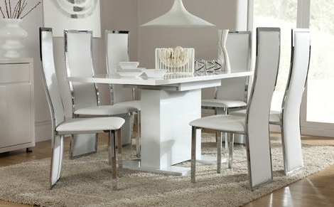 Osaka White High Gloss Extending Dining Table And 6 Chairs Set Within Newest White High Gloss Dining Tables 6 Chairs (View 11 of 20)