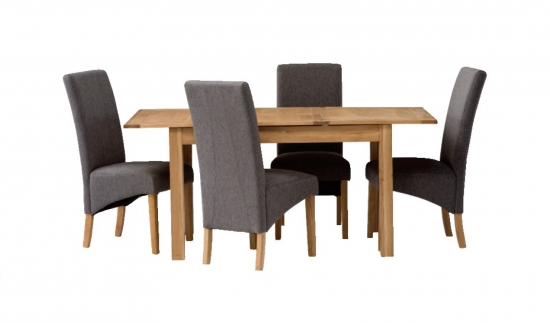 Oslo 1.25M Ext. Natural Oak Dining Table With 4 Tuscany Silver Grey With Regard To Most Up To Date Oak Dining Tables And Fabric Chairs (Gallery 15 of 20)